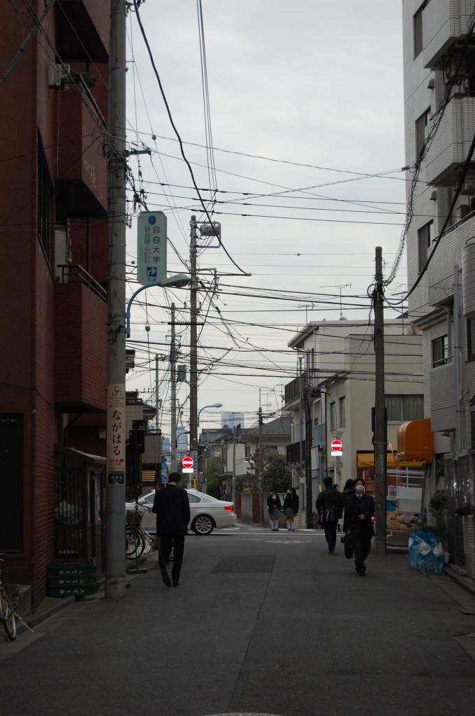 この道をずっと直進すると当院に着きます すぐ前の車道(左に生協、右にリサイクルショップがある)は左右どちらかの横断歩道を使います